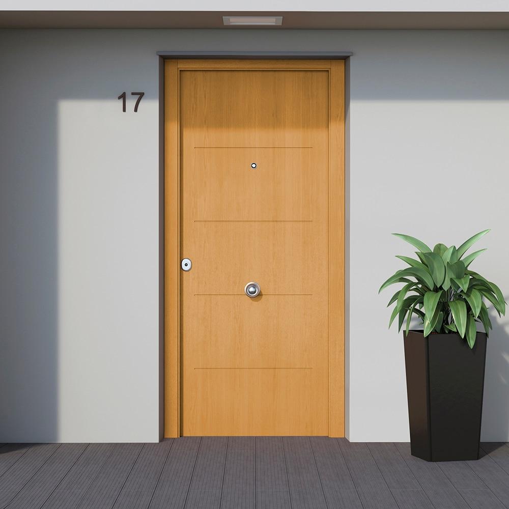 puerta de entrada met lica met lica fresada roble ref
