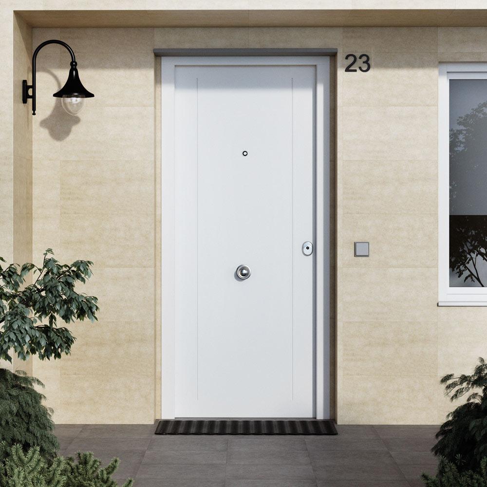 Puerta de entrada met lica met lica fresado lateral blanca - Leroy merlin puertas exteriores ...