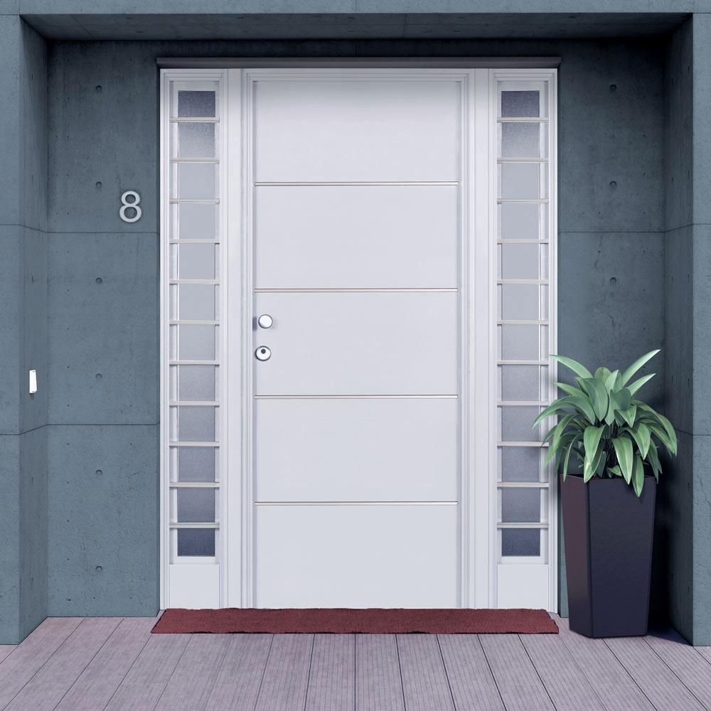 Puertas de aluminio para entrada principal moderna for Puertas de aluminio