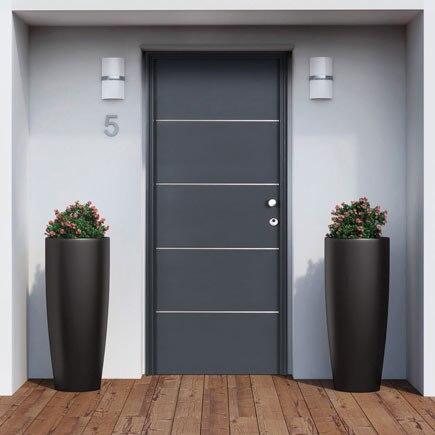 Puerta de entrada met lica inserciones de aluminio gris - Puertas de aluminio leroy merlin ...