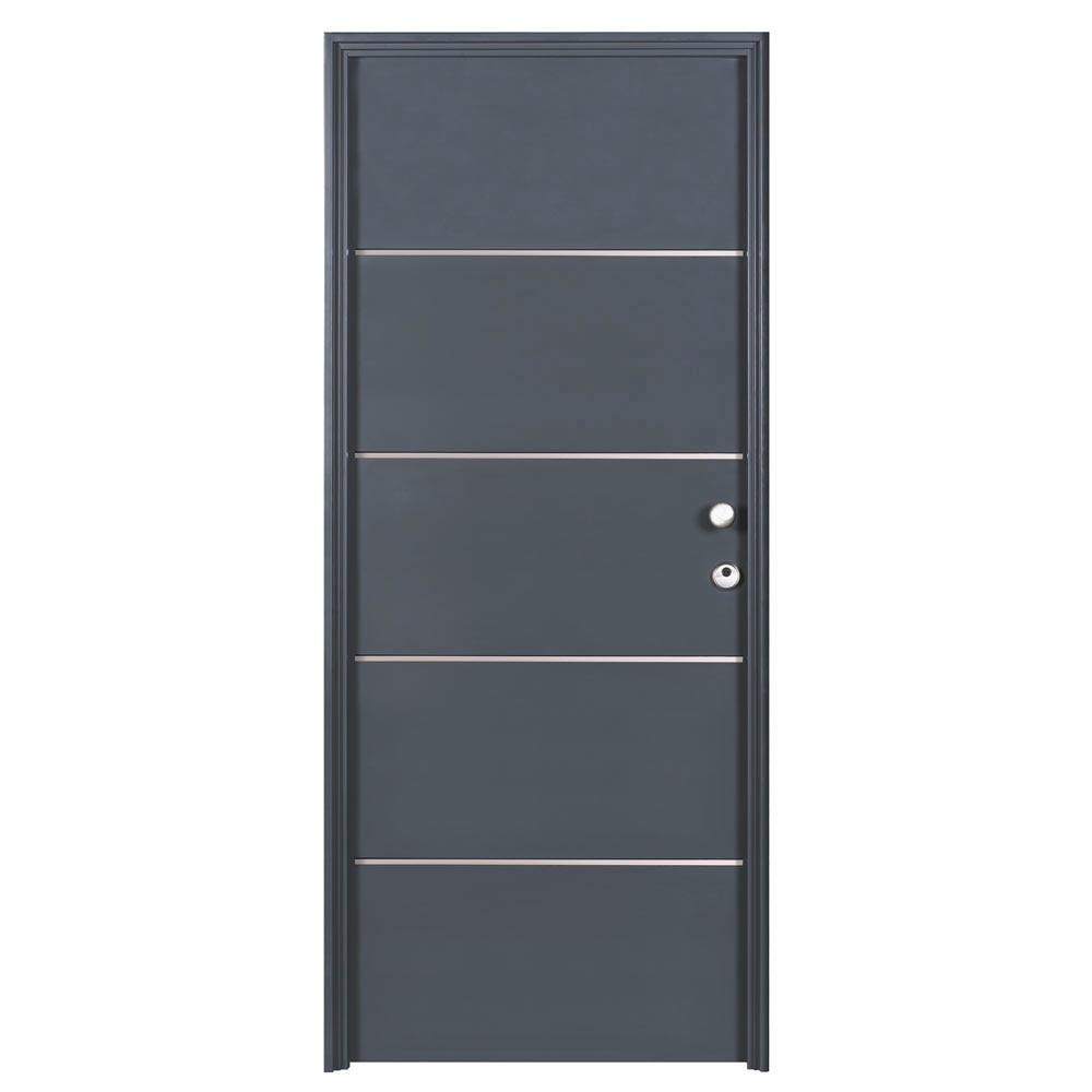 Puerta de entrada met lica inserciones de aluminio gris ref 19369973 leroy merlin - Puertas de aluminio leroy merlin ...