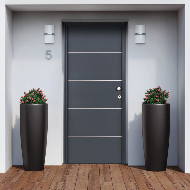 puerta de entrada met lica inserciones de aluminio gris