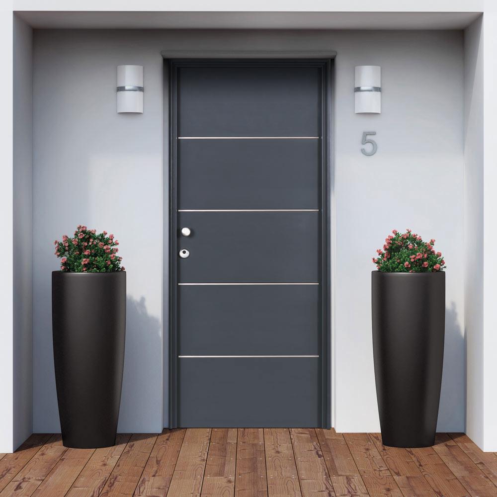 Met lica inserciones de aluminio gris leroy merlin for Puertas metalicas para exteriores