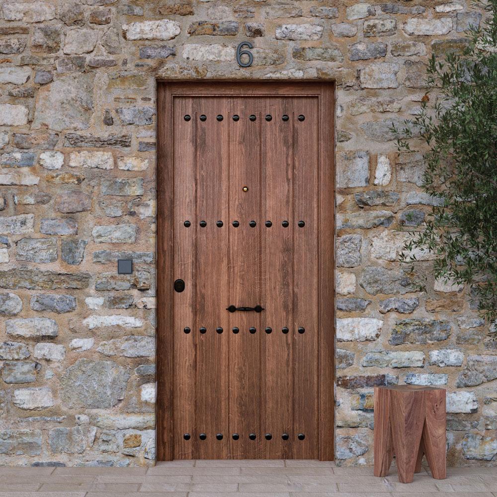 Puerta de entrada met lica met lica r stica roble viejo - Mosquiteras para puertas leroy merlin ...