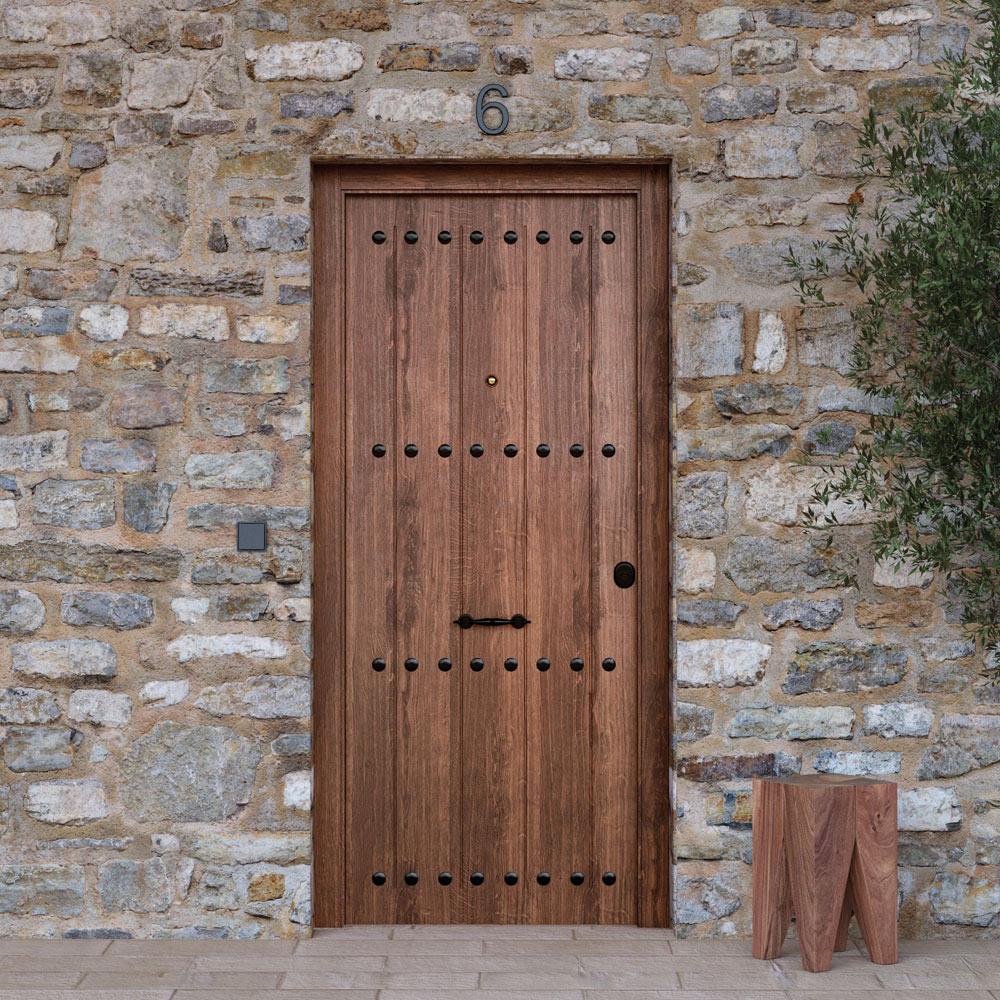Puerta de entrada met lica met lica r stica roble viejo for Puertas exterior rusticas baratas