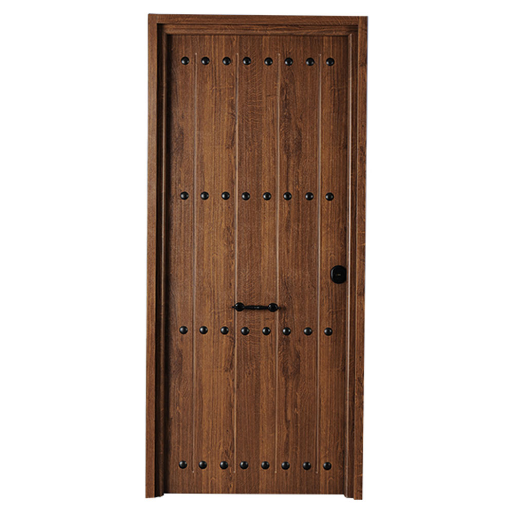 Puerta de entrada met lica met lica r stica roble viejo - Topes para puertas leroy merlin ...