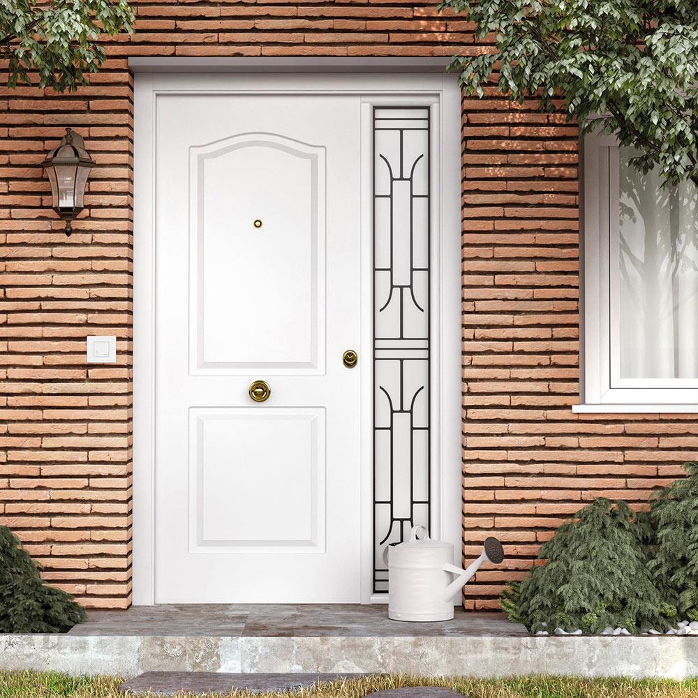 Puerta de entrada met lica met lica semiprovenzal blanca for Puertas jardin leroy merlin