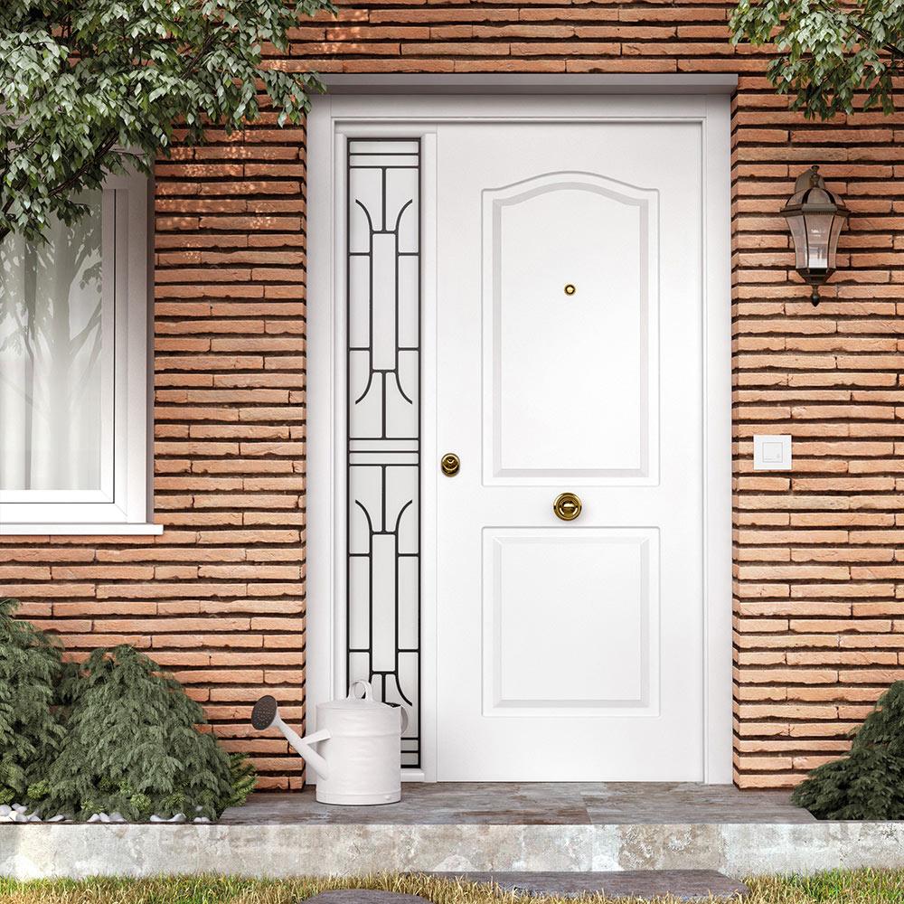 Puerta de entrada met lica met lica semiprovenzal blanca ref 16146242 leroy merlin - Puertas rusticas exterior leroy merlin ...