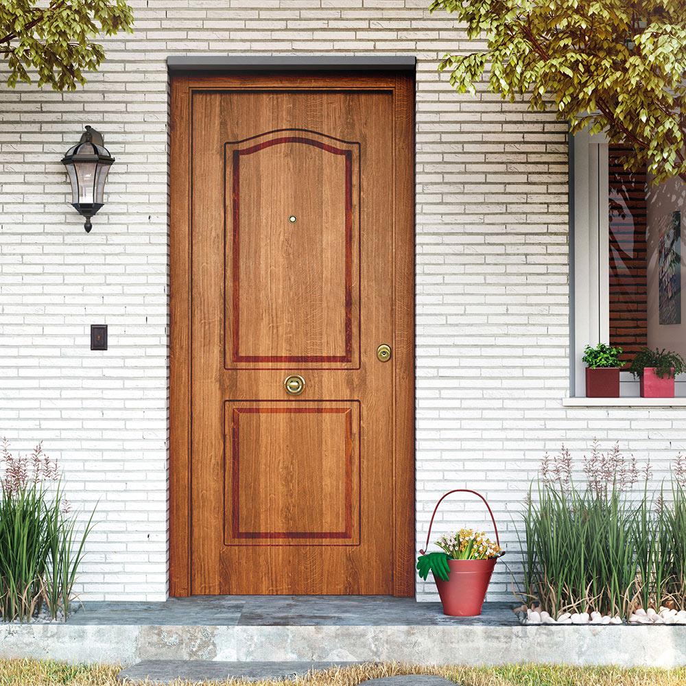 Puerta de entrada met lica met lica semiprovenzal roble for Puertas rusticas exterior leroy merlin