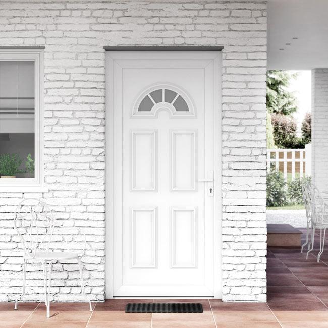 Puerta de entrada pvc pvc ibiza blanca ref 16777194 leroy merlin - Puertas rusticas exterior leroy merlin ...