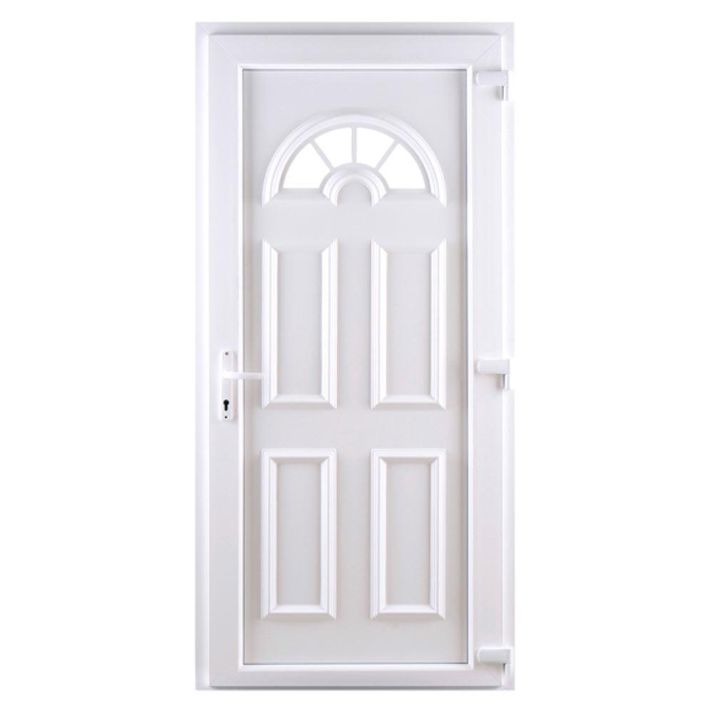Puerta de entrada pvc pvc ibiza blanca ref 16777222 - Puertas exterior leroy ...