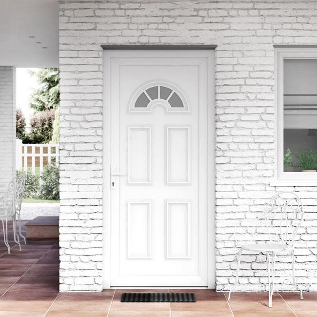 Puerta de entrada pvc pvc ibiza blanca ref 16777222 - Puerta blindada blanca ...