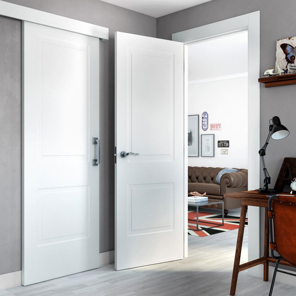 Puerta de interior maciza artens bayona blanca ref for Tiradores puertas correderas leroy merlin