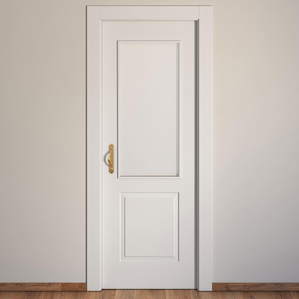 Puerta de interior con cristal bonn blanca ref 15717471 for Puertas de madera blancas para exterior