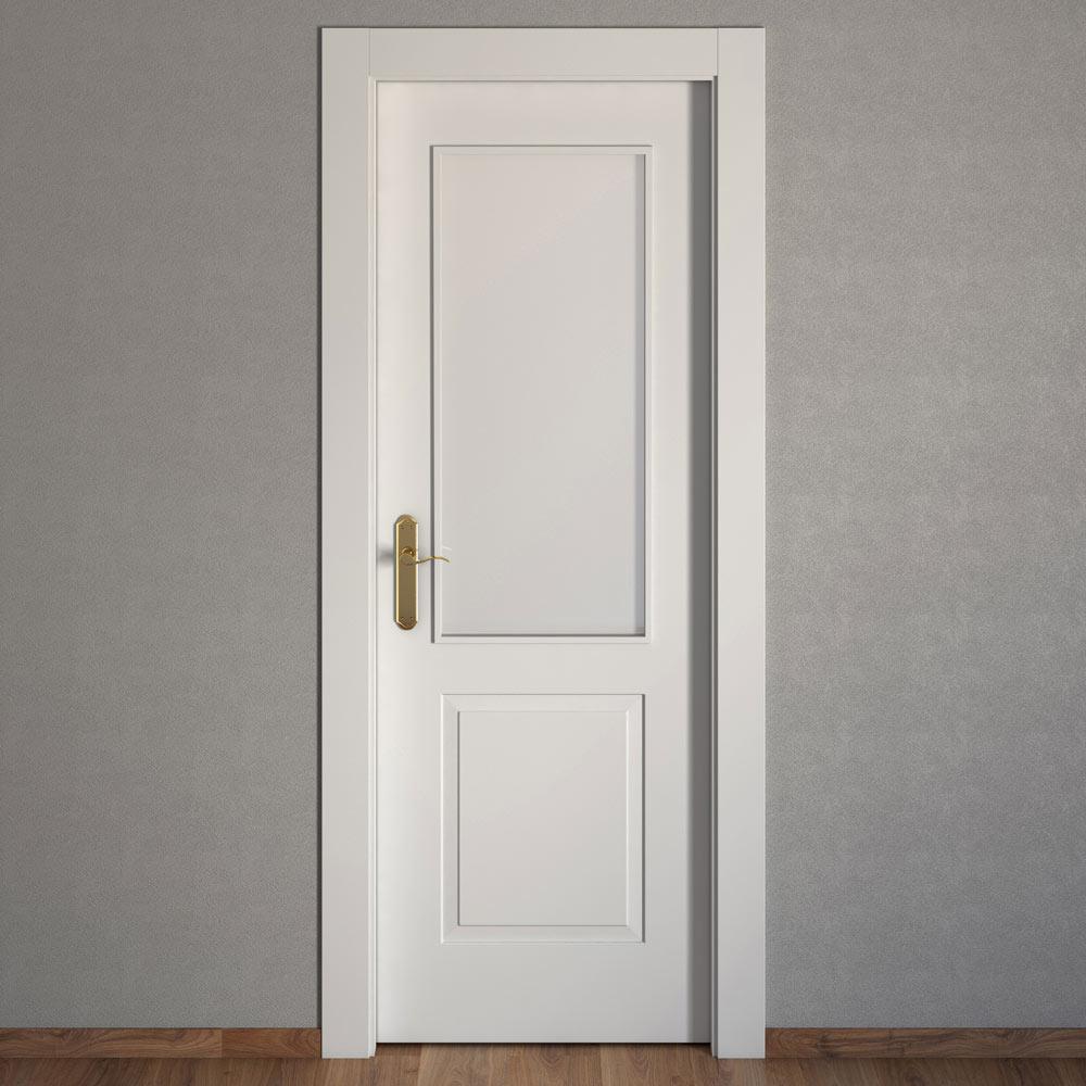 Puerta de interior con cristal bonn blanca ref 15717702 for Puertas leroy merlin