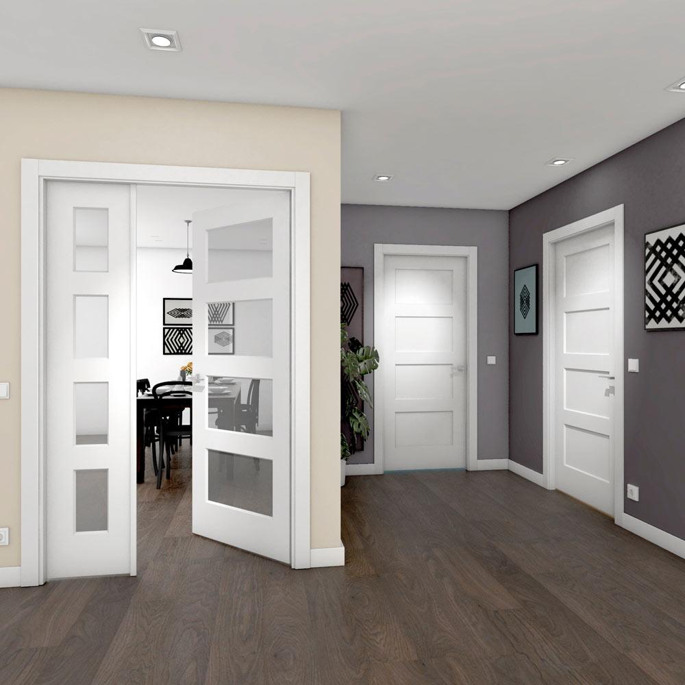 Puerta de interior con cristal bosco blanca ref 18077766 for Puertas de aluminio leroy merlin