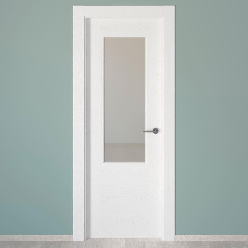 Puerta de interior con cristal canarias blanca ref - Puertas de paso leroy merlin ...