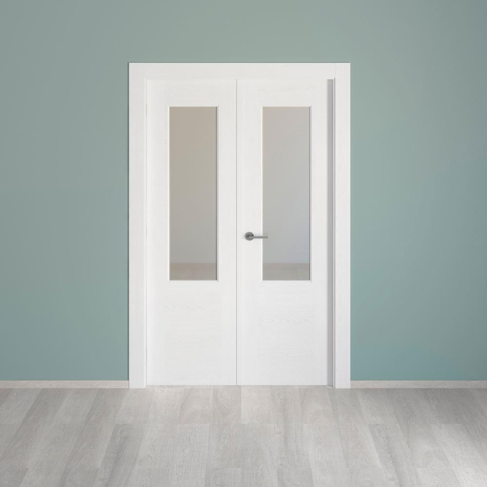 Puerta De Interior Con Cristal Canarias Blanca Ref 17976413  ~ Puertas Correderas De Cristal Leroy Merlin