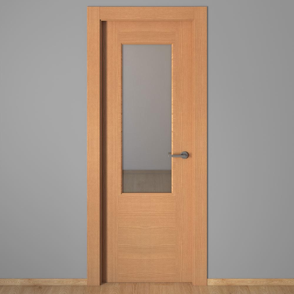 Puerta de interior con cristal canarias haya ref 16151443 for Puertas leroy merlin