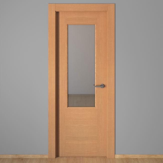 Puerta de interior con cristal canarias haya ref 16151443 - Motor puerta corredera leroy merlin ...