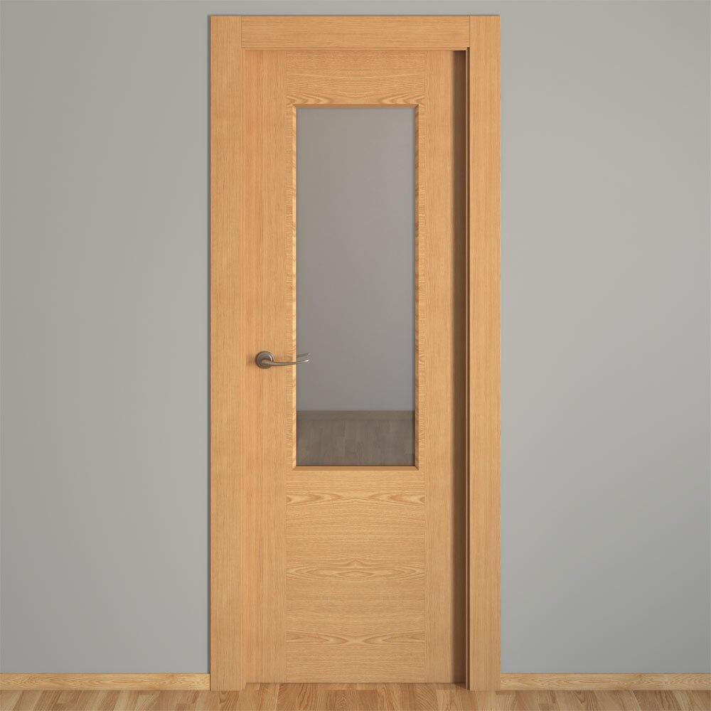 Puerta de interior sin cristal canarias roble ref - Puertas interior cristal ...