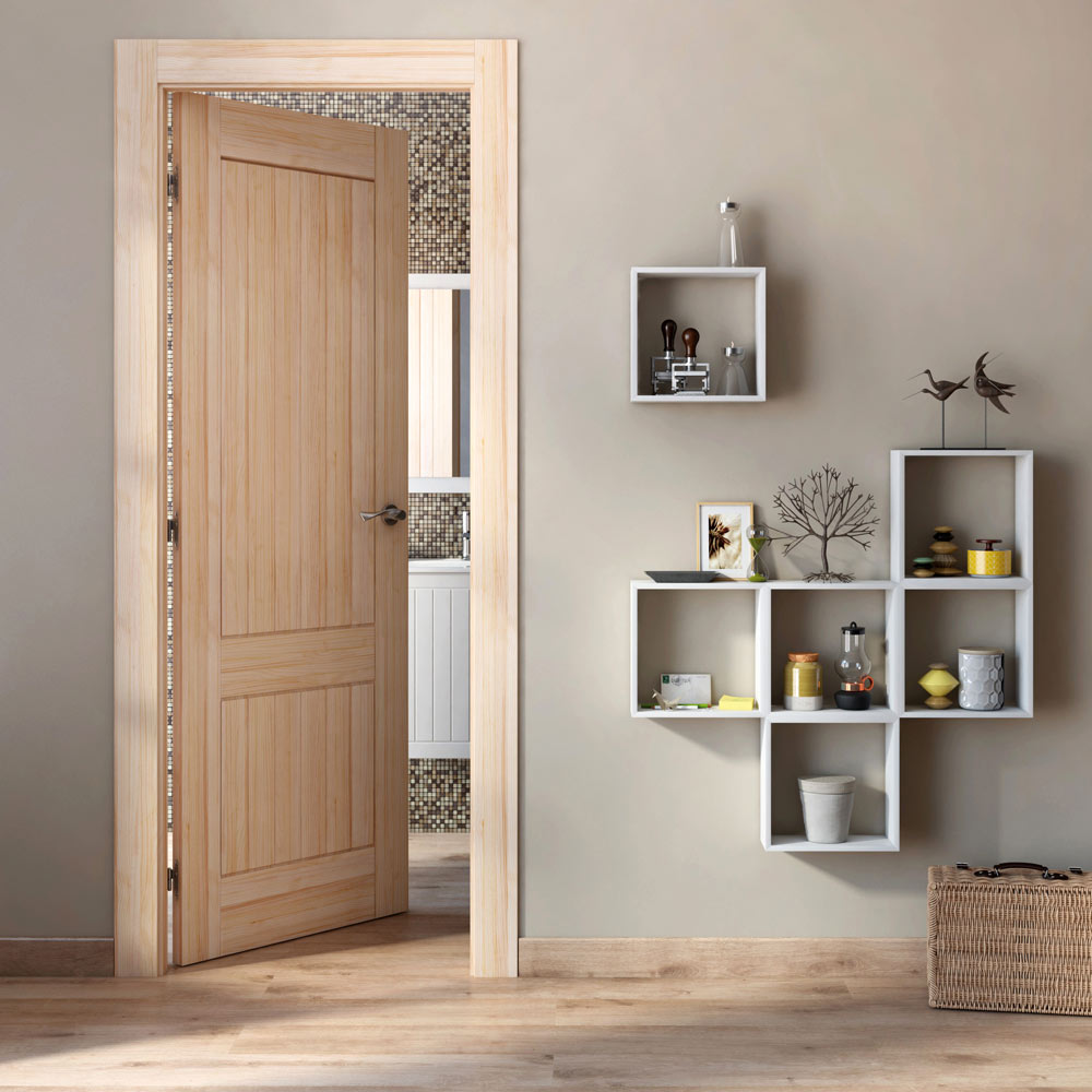 Puerta de interior maciza cuenca pino ref 14132685 - Puertas de paso leroy merlin ...