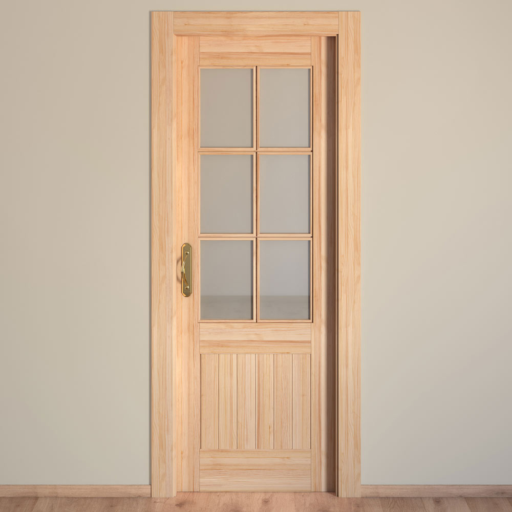 Puerta de interior con cristal cuenca pino ref 15720544 - Puertas de pino ...