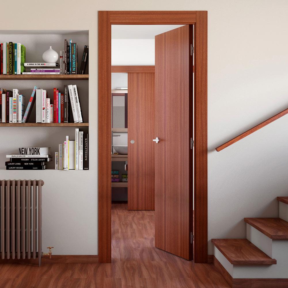 Puerta de interior con cristal grecia sapelly ref for Precio puerta madera interior