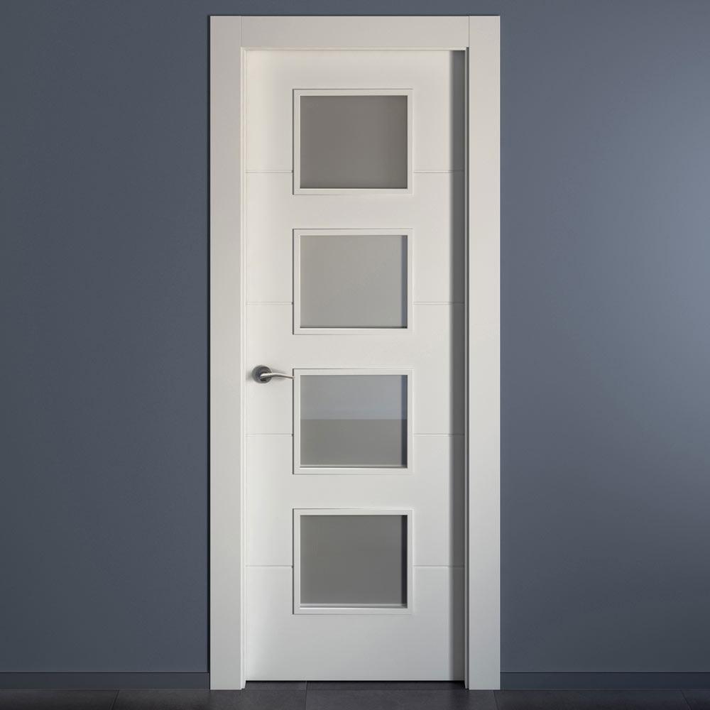 Puerta de interior con cristal holanda blanca ref for Puertas semi macizas blancas