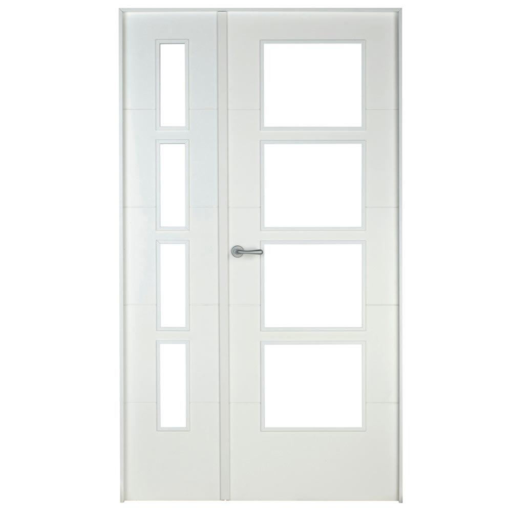 Puerta de interior con cristal holanda blanca ref - Puertas interior blancas baratas ...