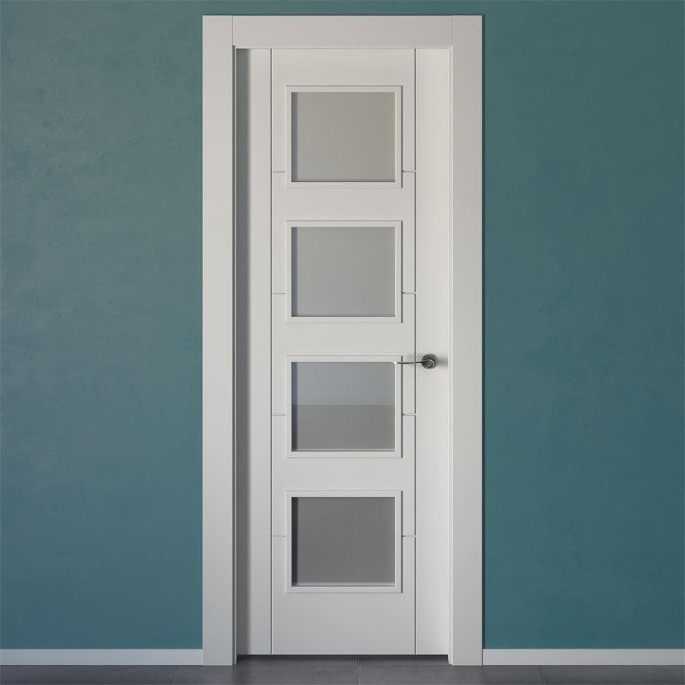 Puerta de interior con cristal hungria blanca ref for Cristales para puertas de interior precios