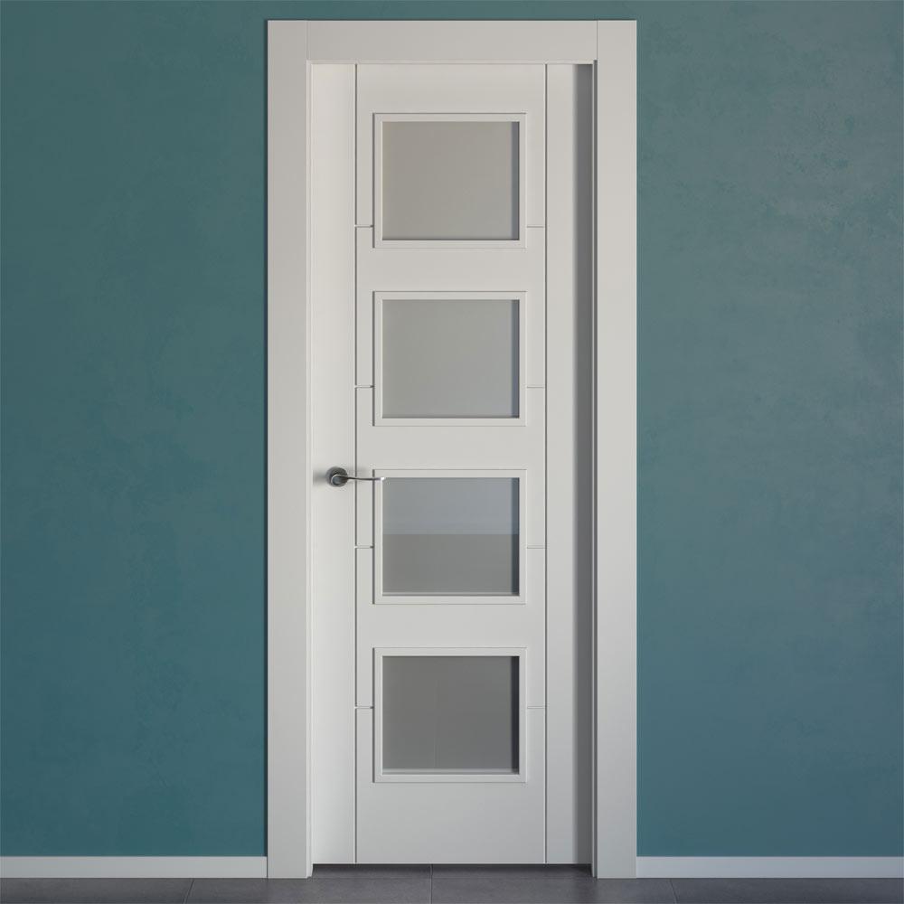 Puerta de interior con cristal hungria blanca ref - Puertas de interior con cristales ...