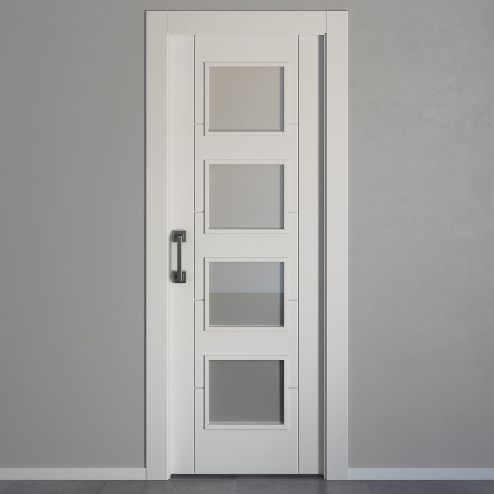 Puerta de interior con cristal hungria blanca ref - Topes para puertas leroy merlin ...