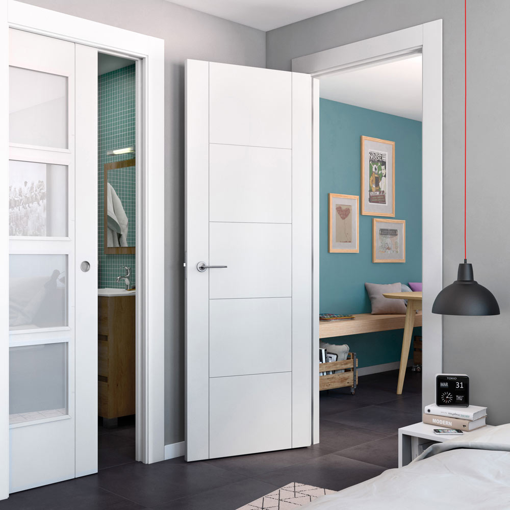 Puerta de interior con cristal hungria blanca ref for Puertas cristal interior casa