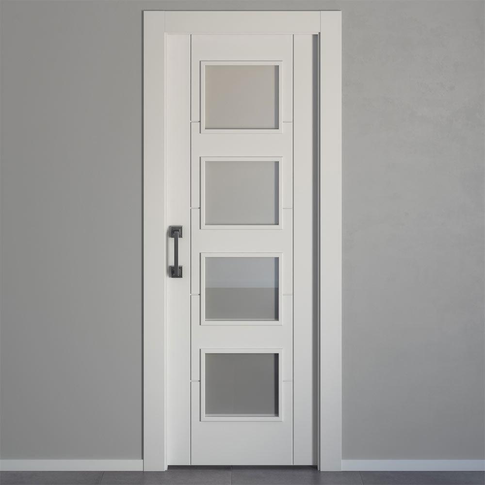Puerta de interior con cristal hungria blanca ref for Puertas leroy merlin