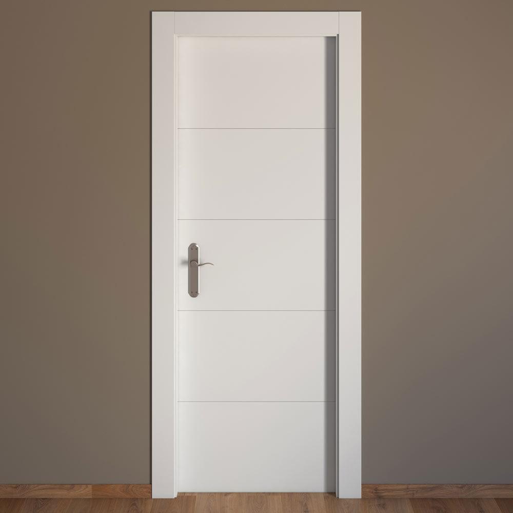 Puerta de interior maciza artens lucerna blanca ref - Puertas de paso leroy merlin ...