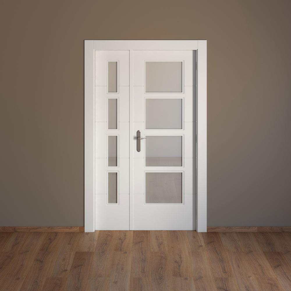 Puerta de interior con cristal artens lucerna blanca ref 15717996 leroy merlin - Puertas cristal interior ...