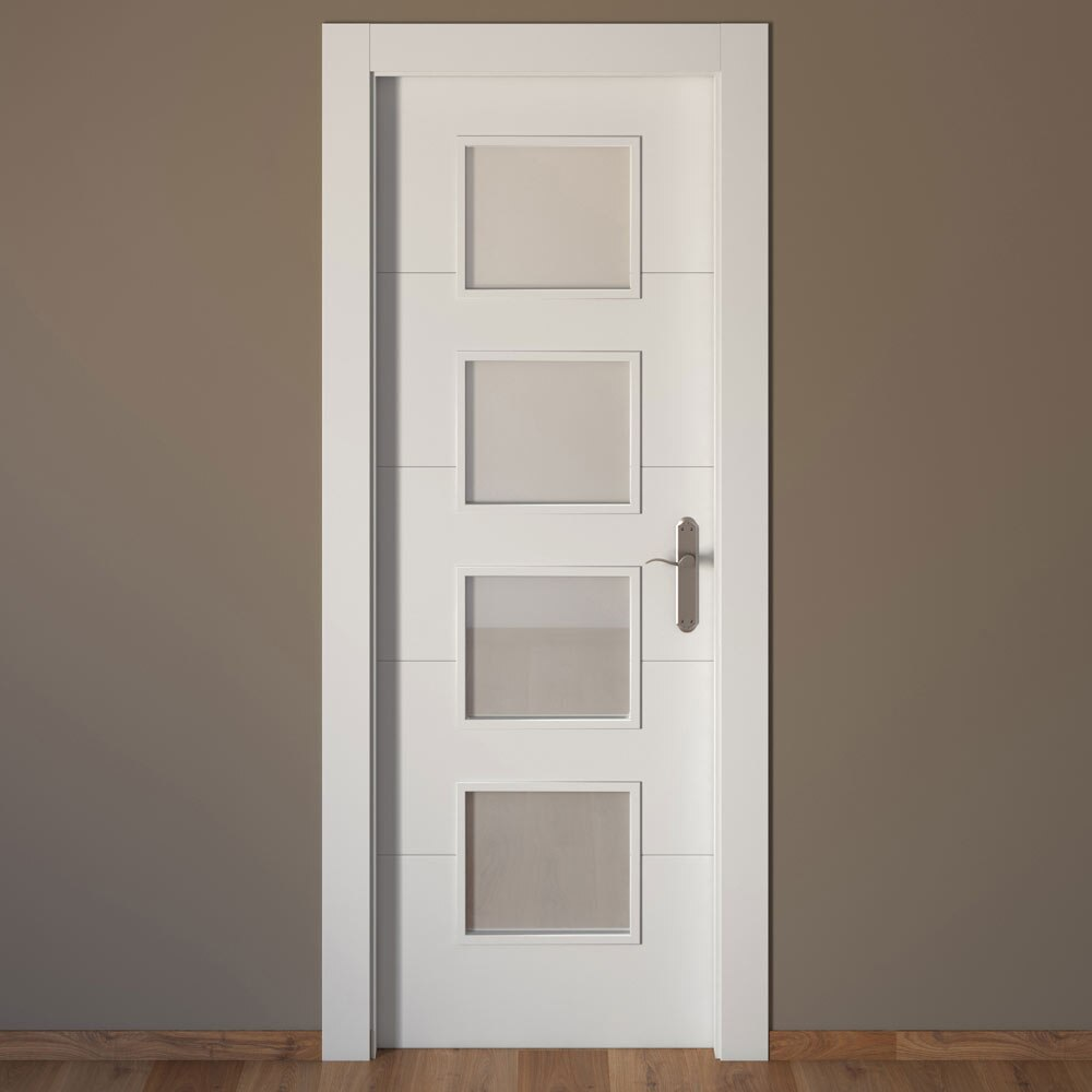 Puerta de interior con cristal artens lucerna blanca ref - Interiores de armarios leroy merlin ...