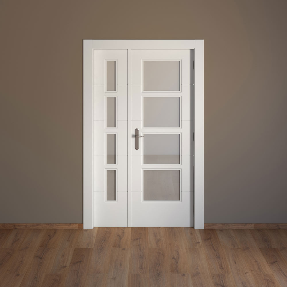 Puerta de interior con cristal artens lucerna blanca ref for Puerta doble interior