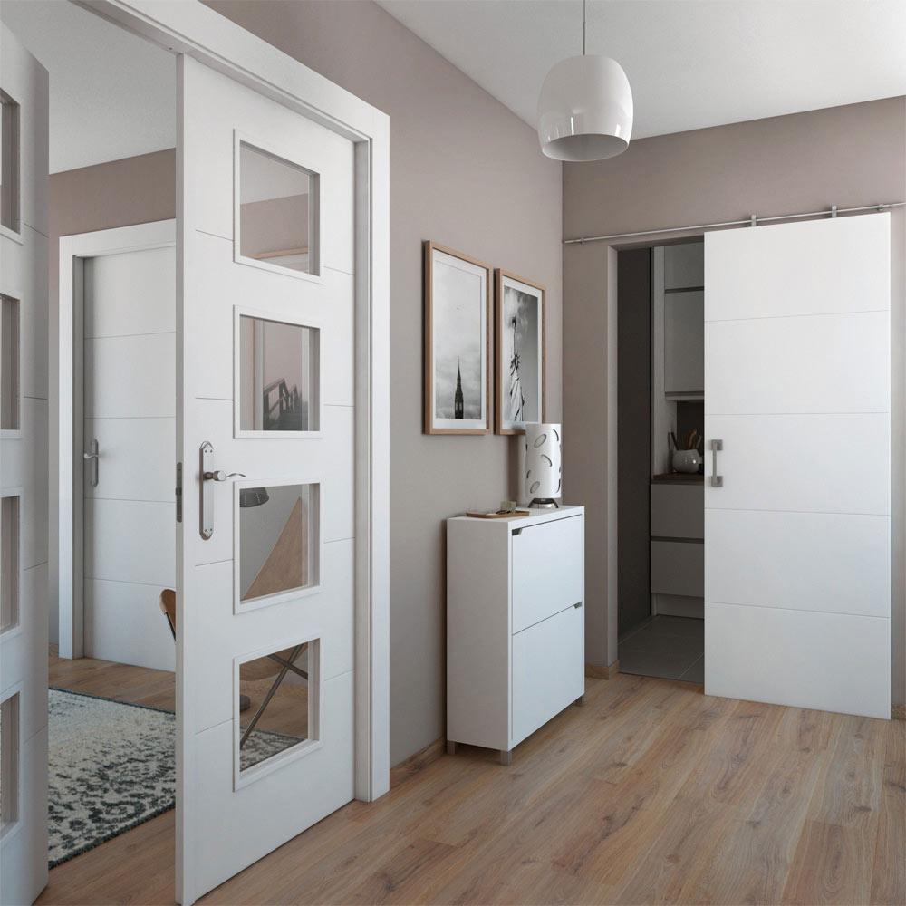 Puerta de interior con cristal artens lucerna blanca ref for Tiradores puertas correderas leroy merlin
