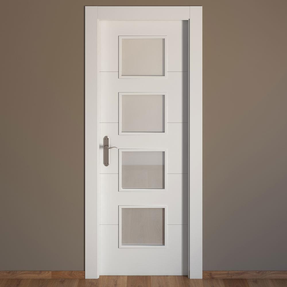 Puerta de interior con cristal artens lucerna blanca ref for Puertas aluminio interior cristal
