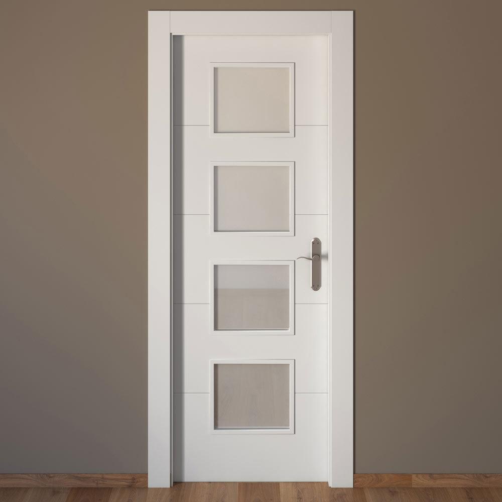 Puerta de interior con cristal artens lucerna blanca ref - Puertas de entrada leroy merlin ...