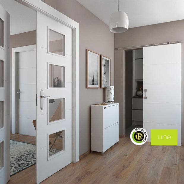Puertas corredizas de madera precios elegant puertas en for Precio puertas blancas
