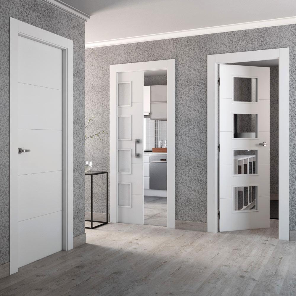 Puerta de interior maciza artens lucerna plus blanca ref for Vidrio interior leroy merlin