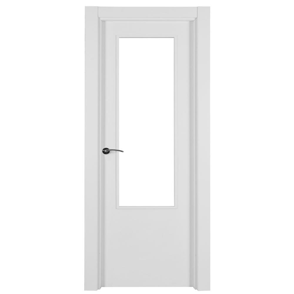 Puerta de interior con cristal lyon blanca ref 15716876 for Puerta blanca cristal