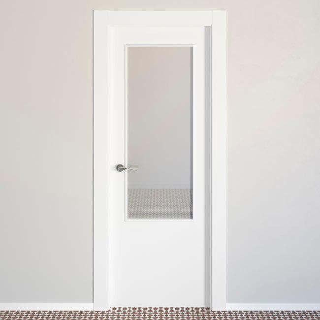 Puerta de interior con cristal lyon blanca ref 15716876 - Puertas de paso leroy merlin ...