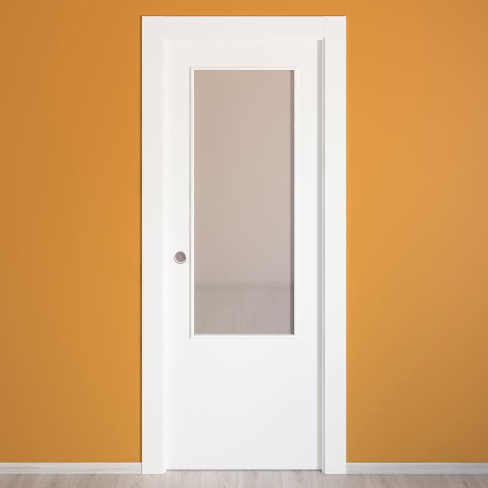 Puerta de interior con cristal lyon blanca ref 15718395 for Puerta blanca cristal