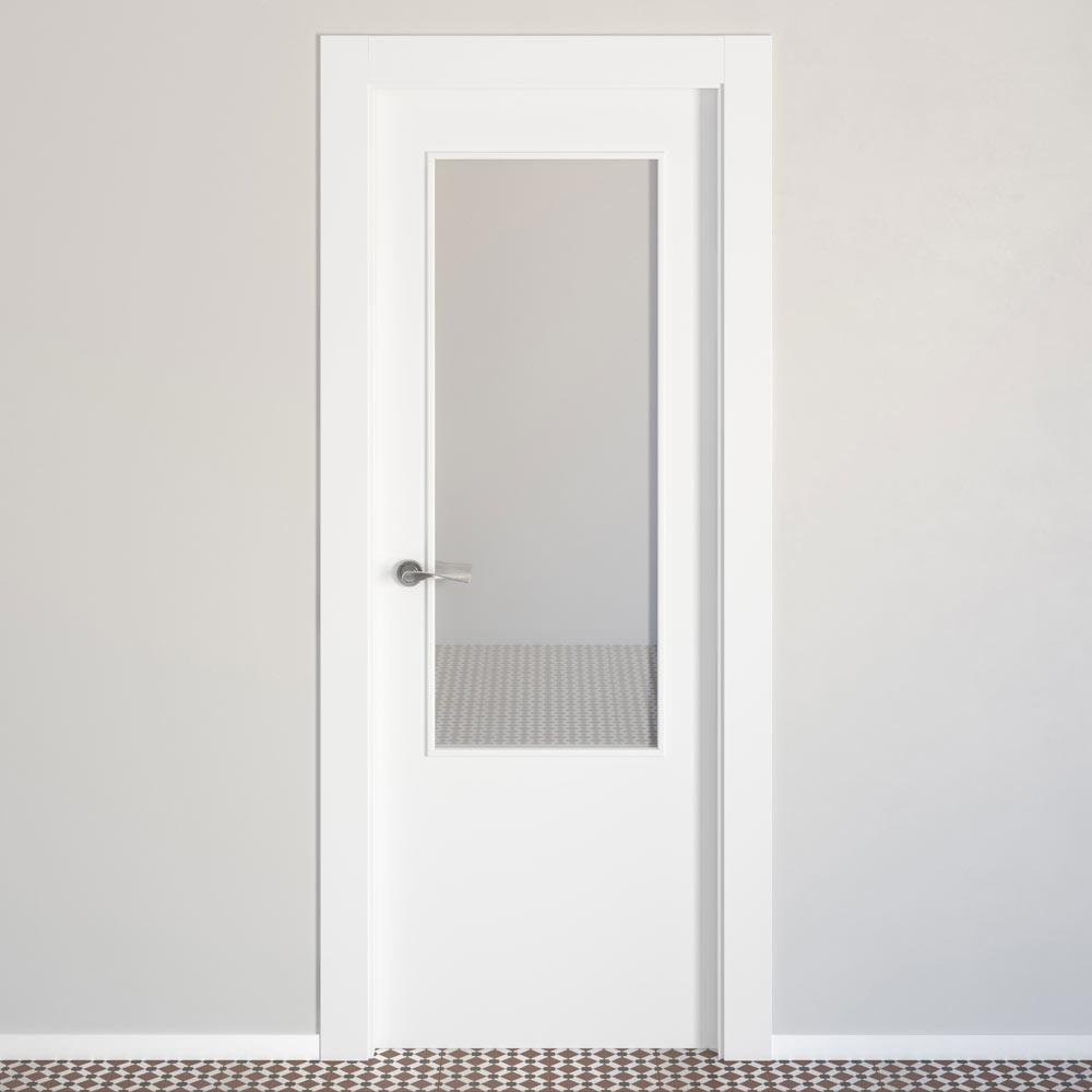 Puerta de interior con cristal lyon blanca ref 15718626 for Puertas leroy merlin