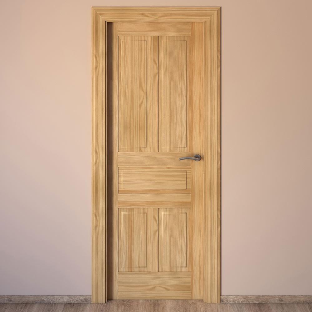 Puerta de interior maciza m laga pino ref 14132636 - Cortinas para puertas leroy merlin ...
