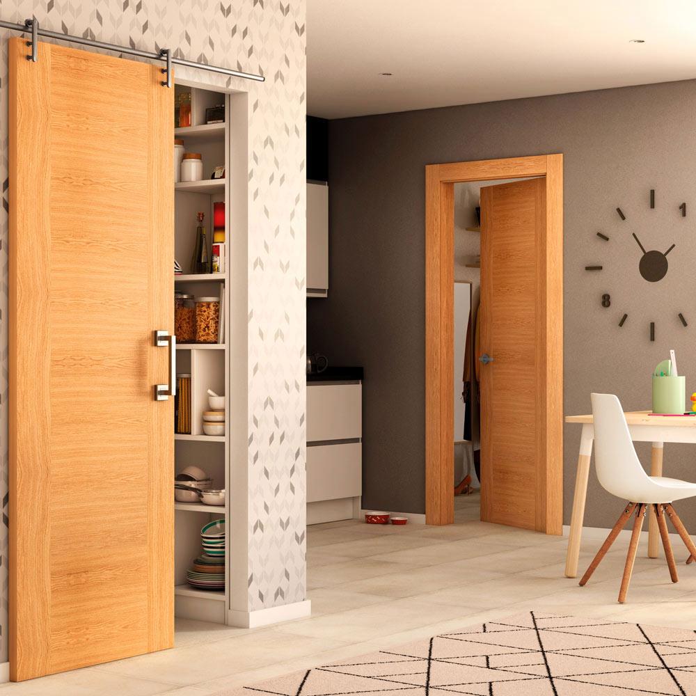 Puerta de interior maciza niza roble ref 13397643 leroy for Puertas madera maciza interior